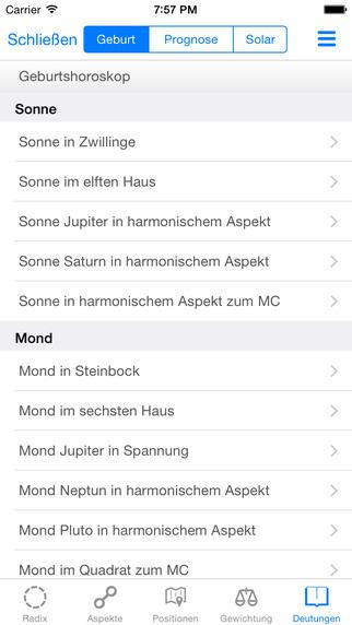 Galiastro App iPhone Texte